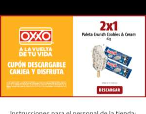 Oxxo 2x1 en paletas crunch cookies and cream