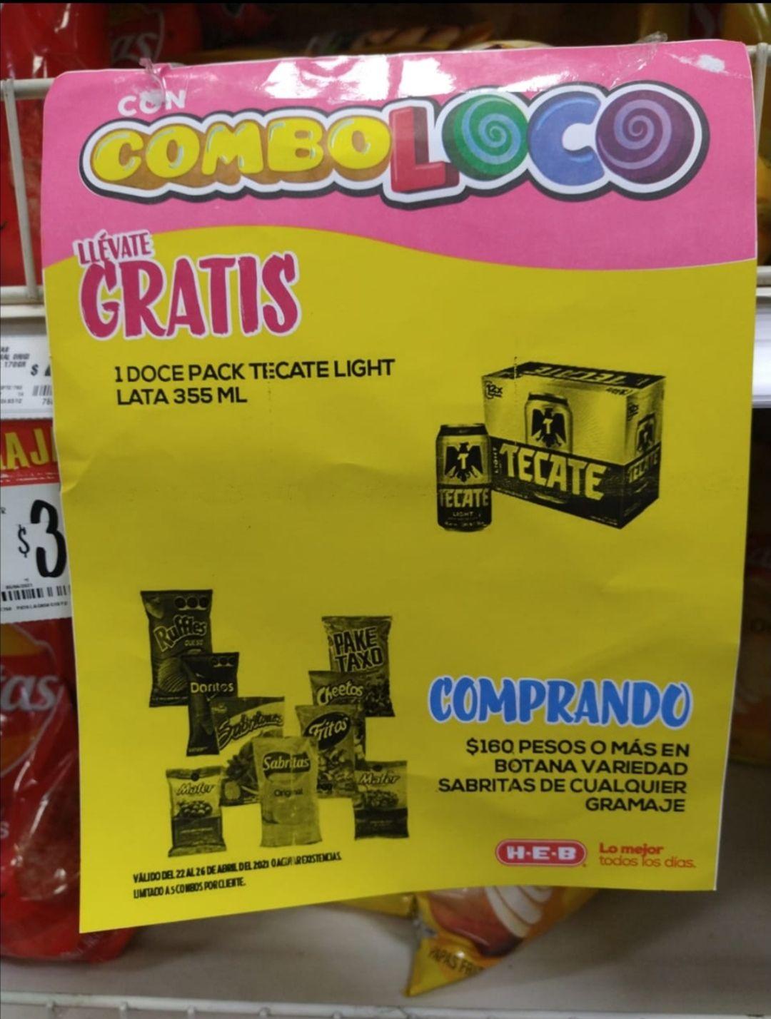 HEB: Combo loco 12 Pack Tecate GRATIS en compra de $160 Sabritas