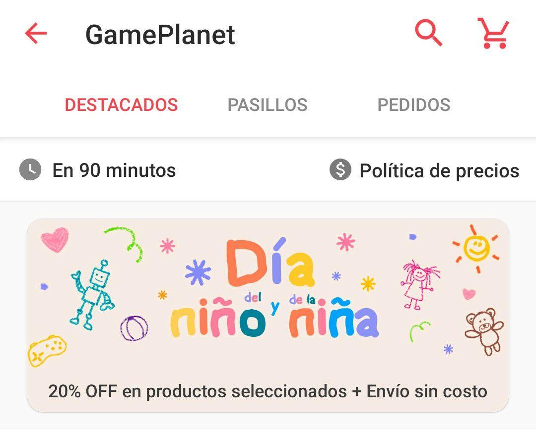 Cornershop: 20% OFF en Gameplanet + envío gratis (Productos seleccionados)