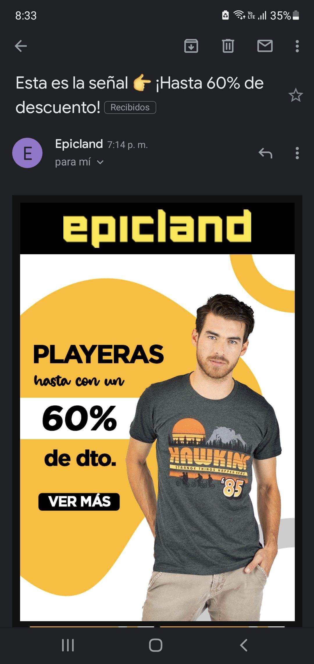 Epicland playeras hasta un 60%