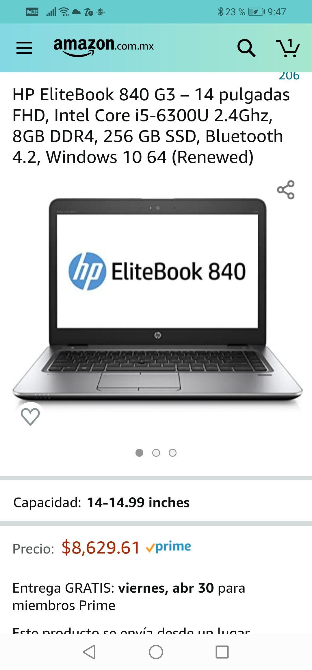 """Amazon: Laptop HP EliteBook 840 G3 – 14"""" FHD, Intel Core i5-6300U 2.4Ghz, 8GB DDR4, 256 GB SSD, Bluetooth 4.2, Windows 10 64 (Renewed)"""