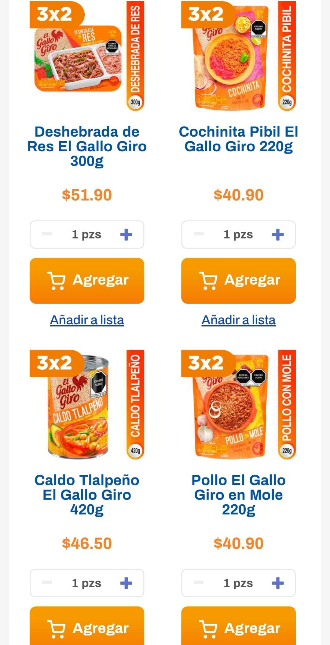 Chedraui: 3 x 2 en productos El Gallo Giro