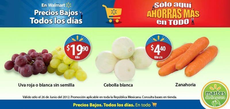 Martes de frescura en Walmart junio 26: zanahoria $4.40, uvas $19.90 y más