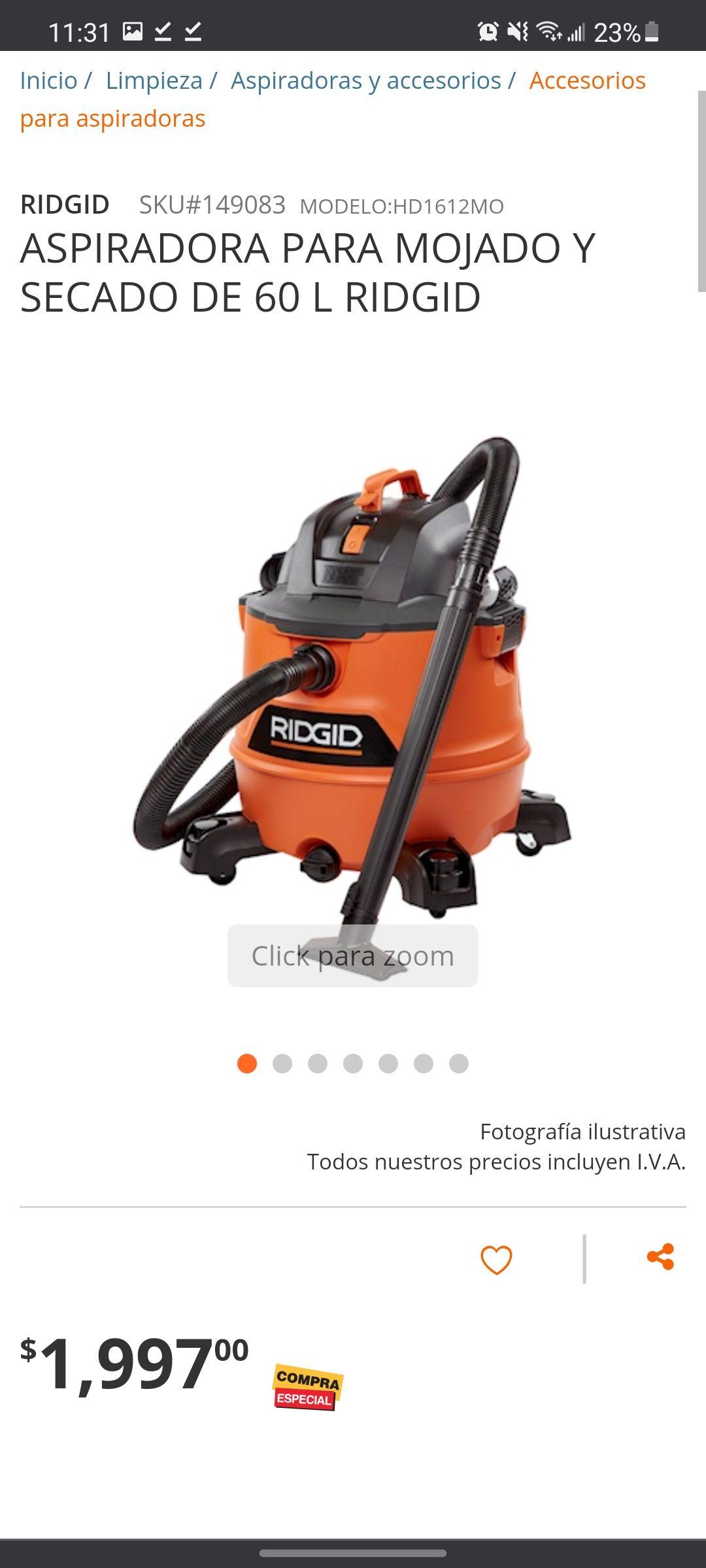 Home Depot: Aspiradora ridgid 60L 5 hp seco y mojado