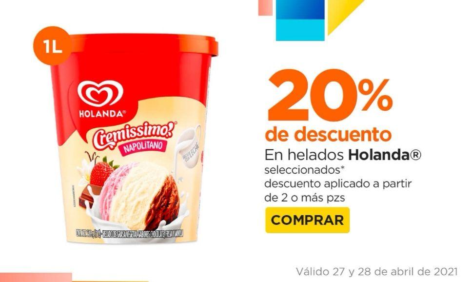 Chedraui: 20% de descuento en la compra de 2 o más helados Holanda 1 L