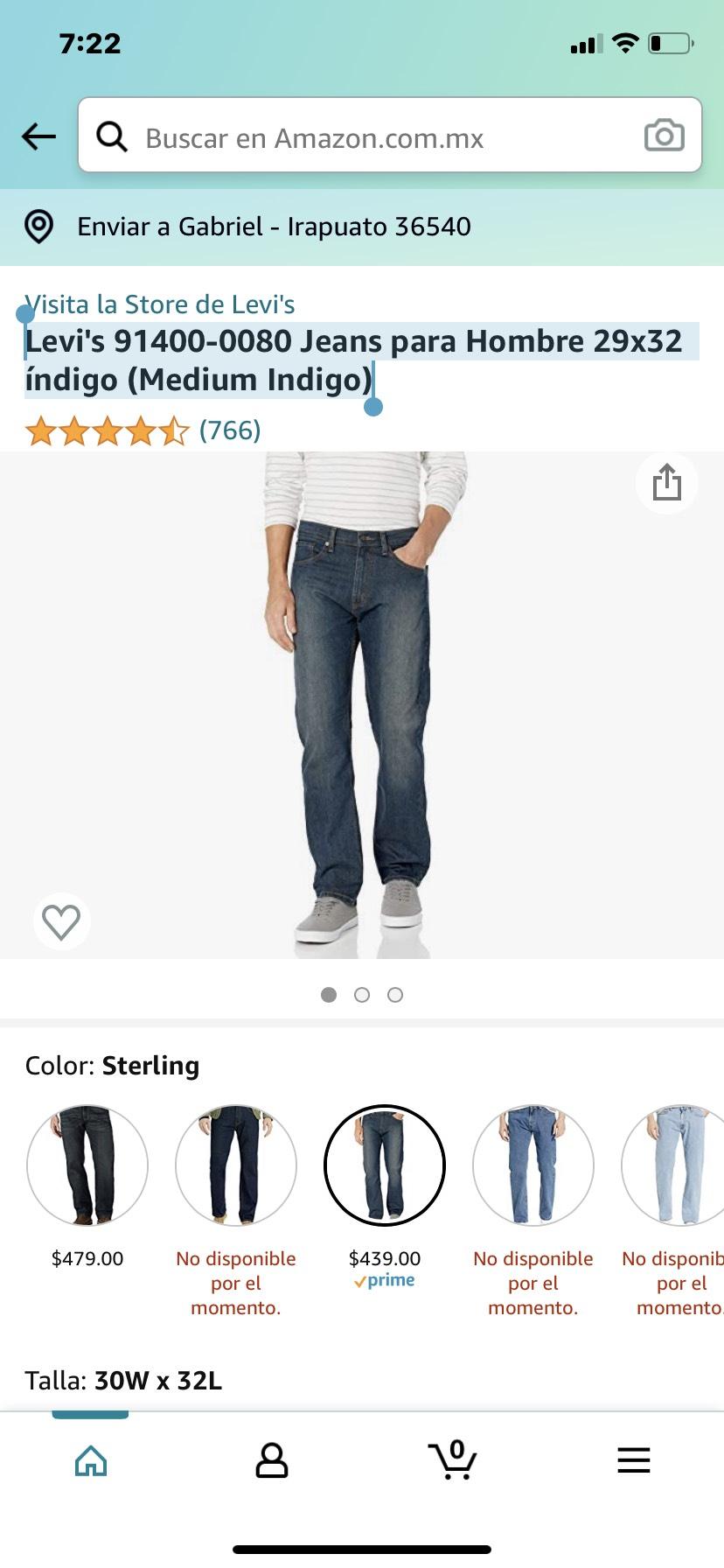 Amazon, Levi's Jeans para Hombre 30x32 índigo