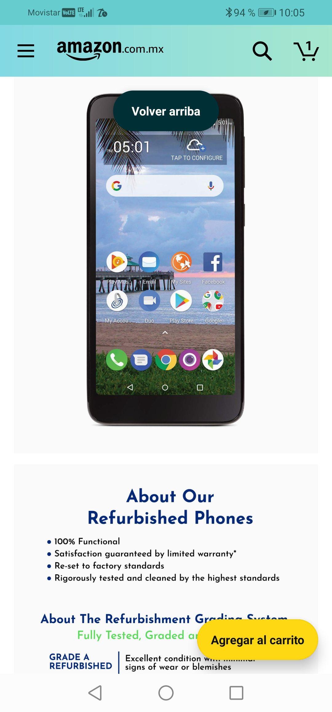 Amazon : Tracfone TCL A1 4G LTE Prepago Smartphone - Negro - 16GB - Tarjeta SIM incluida - CDMA (renovado)