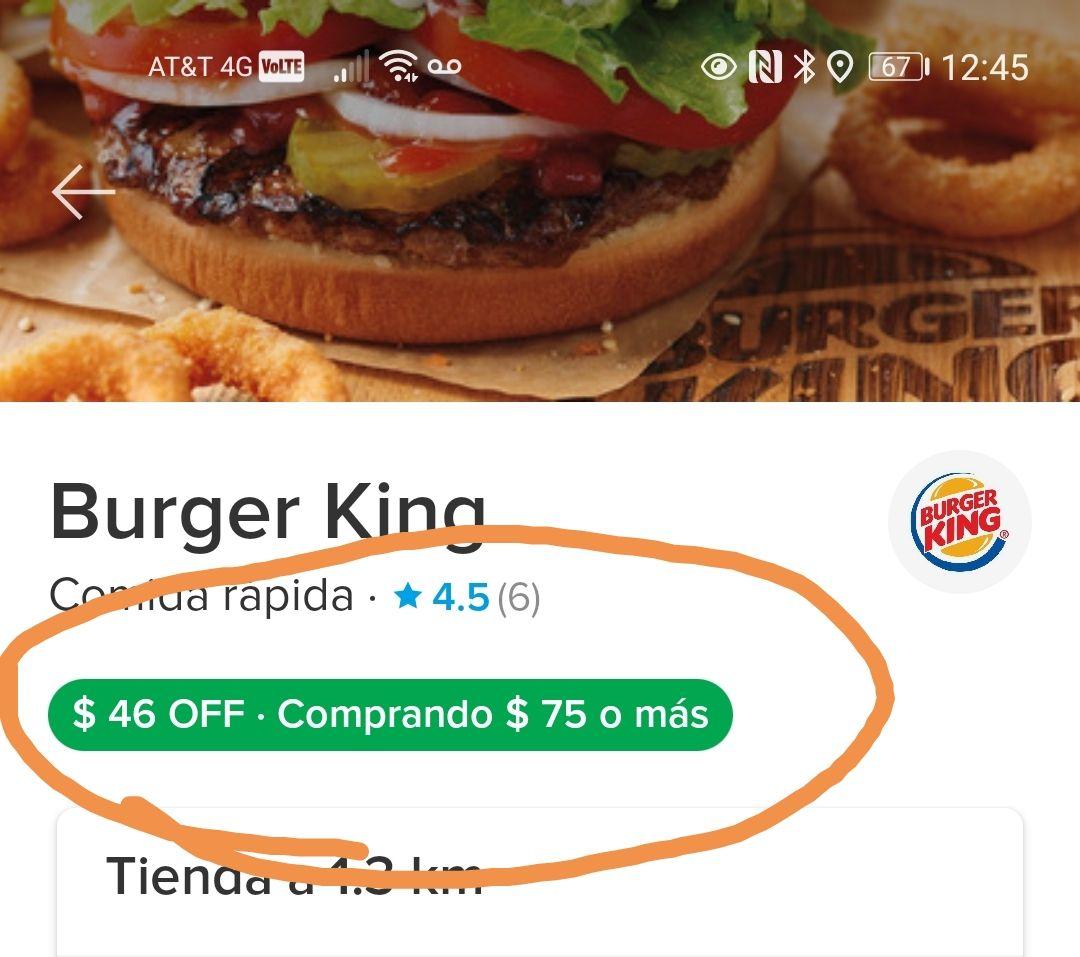 Paga en Burger King con Mercado pago y en la compra de $75 te descuentan $46