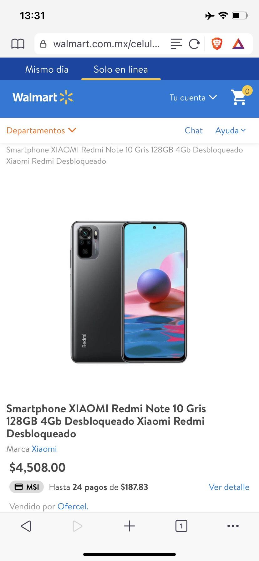 Walmart: Xiaomi Redmi Note 10 Gris 4/128 gb Desbloqueado