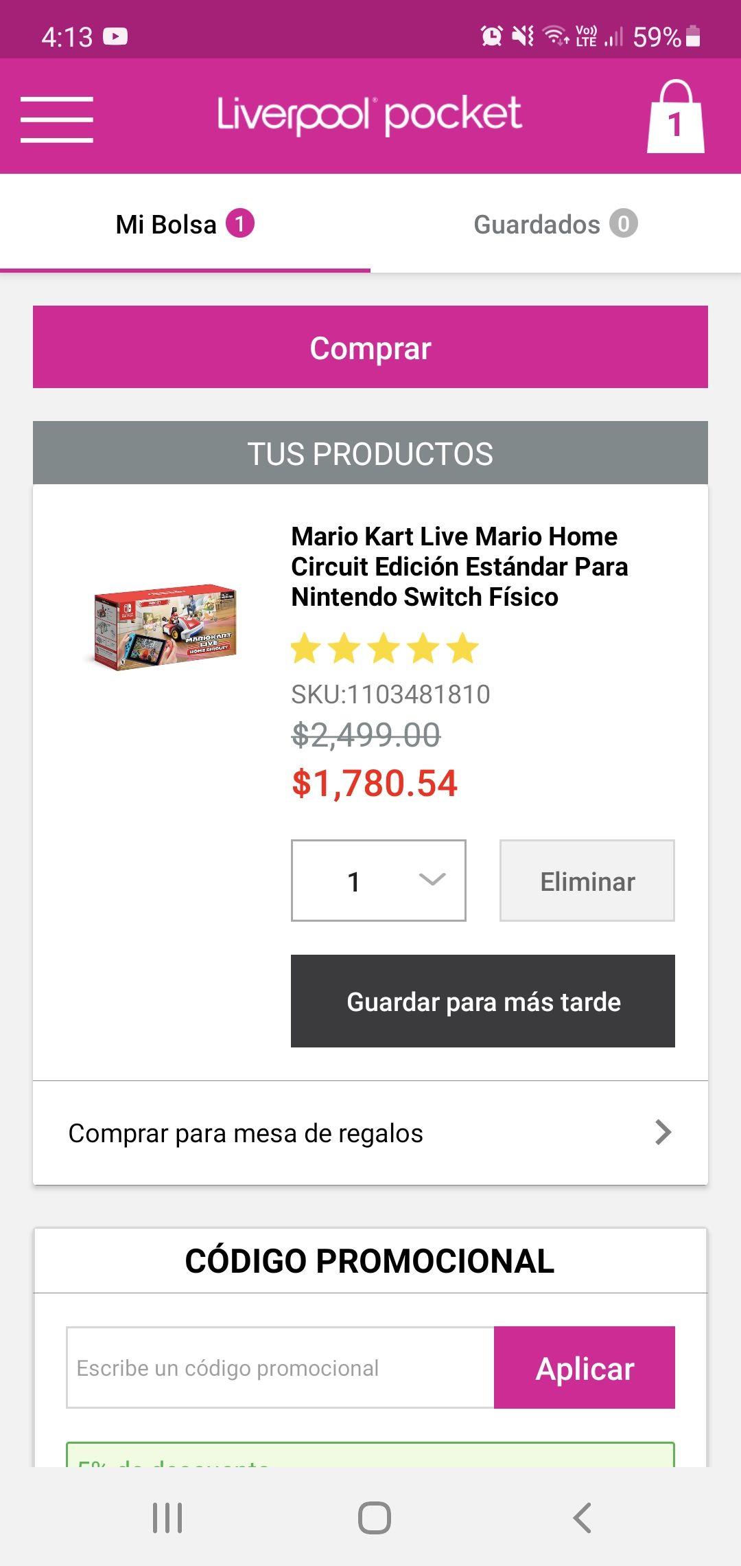 Liverpool: Mario Kart Live Home Circuit Mario ( con cupon pocketmenos5 se llega a los 1780.54 )