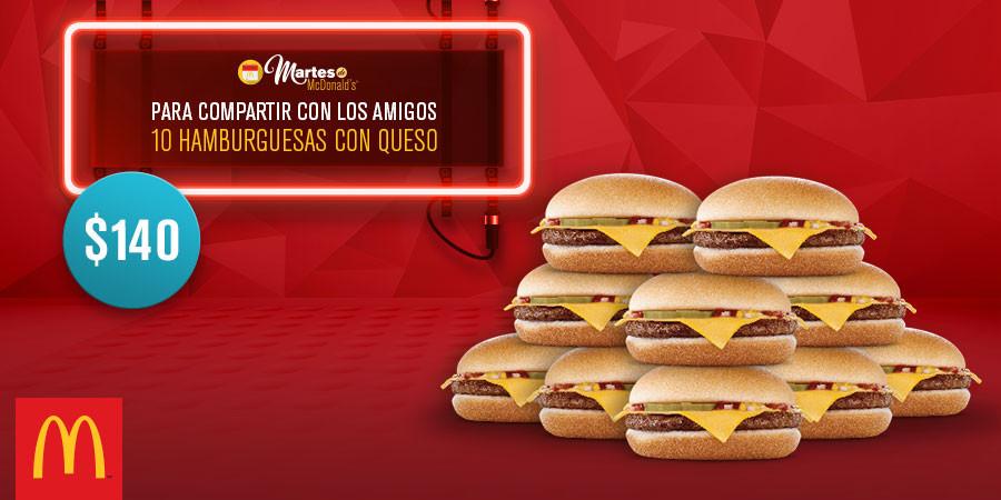 Martes de McDonald's: 10 hamburguesas con queso por $140 y 2 McMuffin por $40