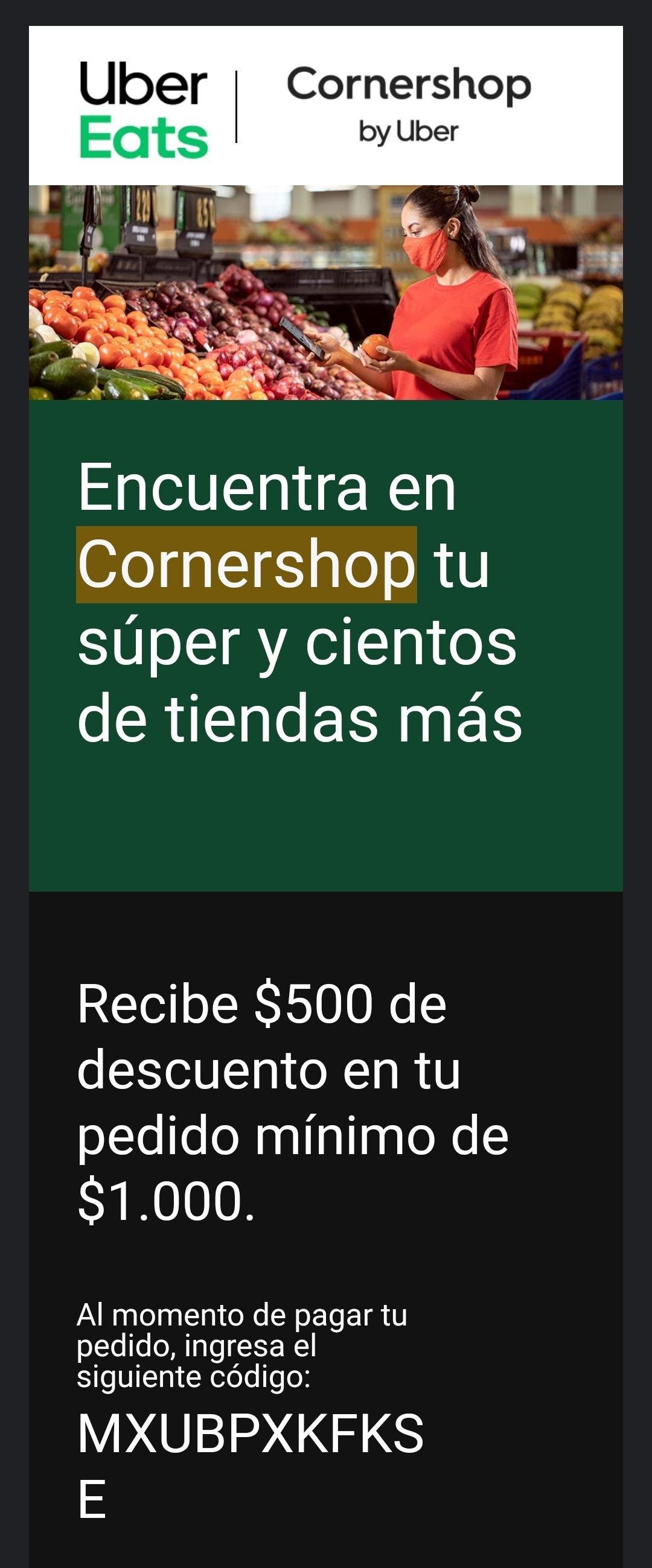 Cornershop: $500 descuento