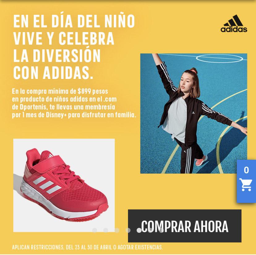 Dportenis: 1 mes de Disney+ Al comprar $899 en productos Adidas para niños