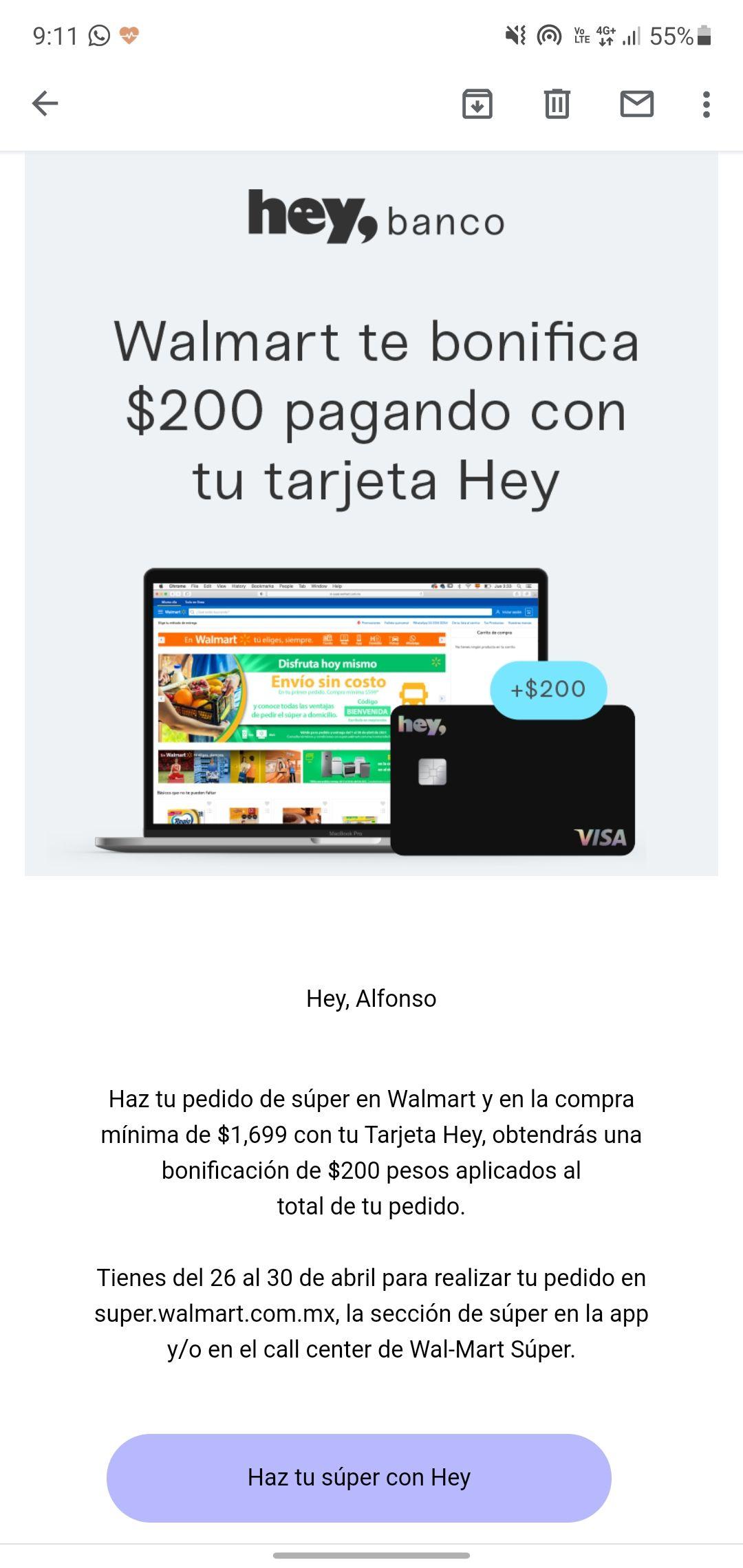 Walmart: Bonificacion de $200 al realizar tu super de $1699 con Hey Banco