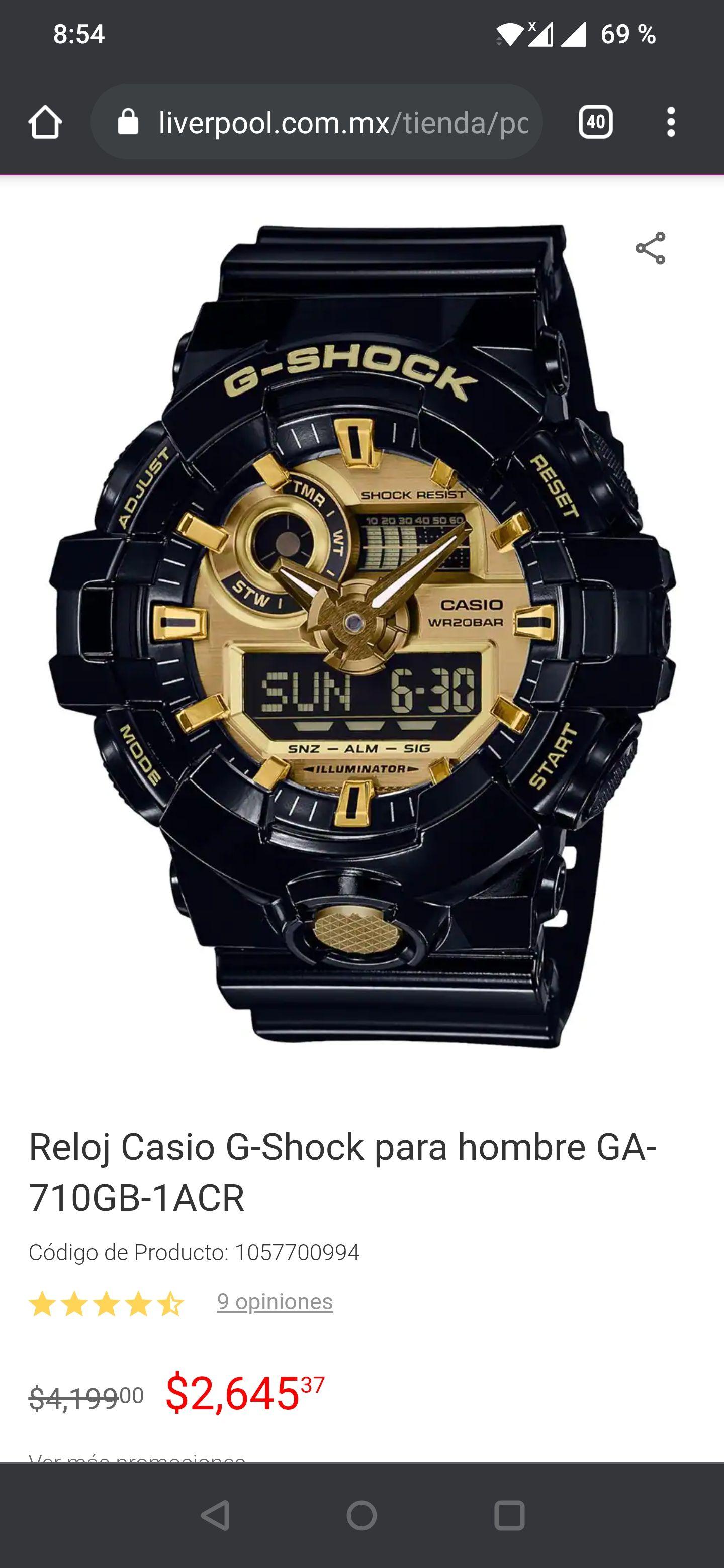 Liverpool: Reloj Casio G-Shock para hombre GA-710GB-1ACR Color: Negro ($2513.1 con cupón pocketmenos5 para primera compra con app liverpool)