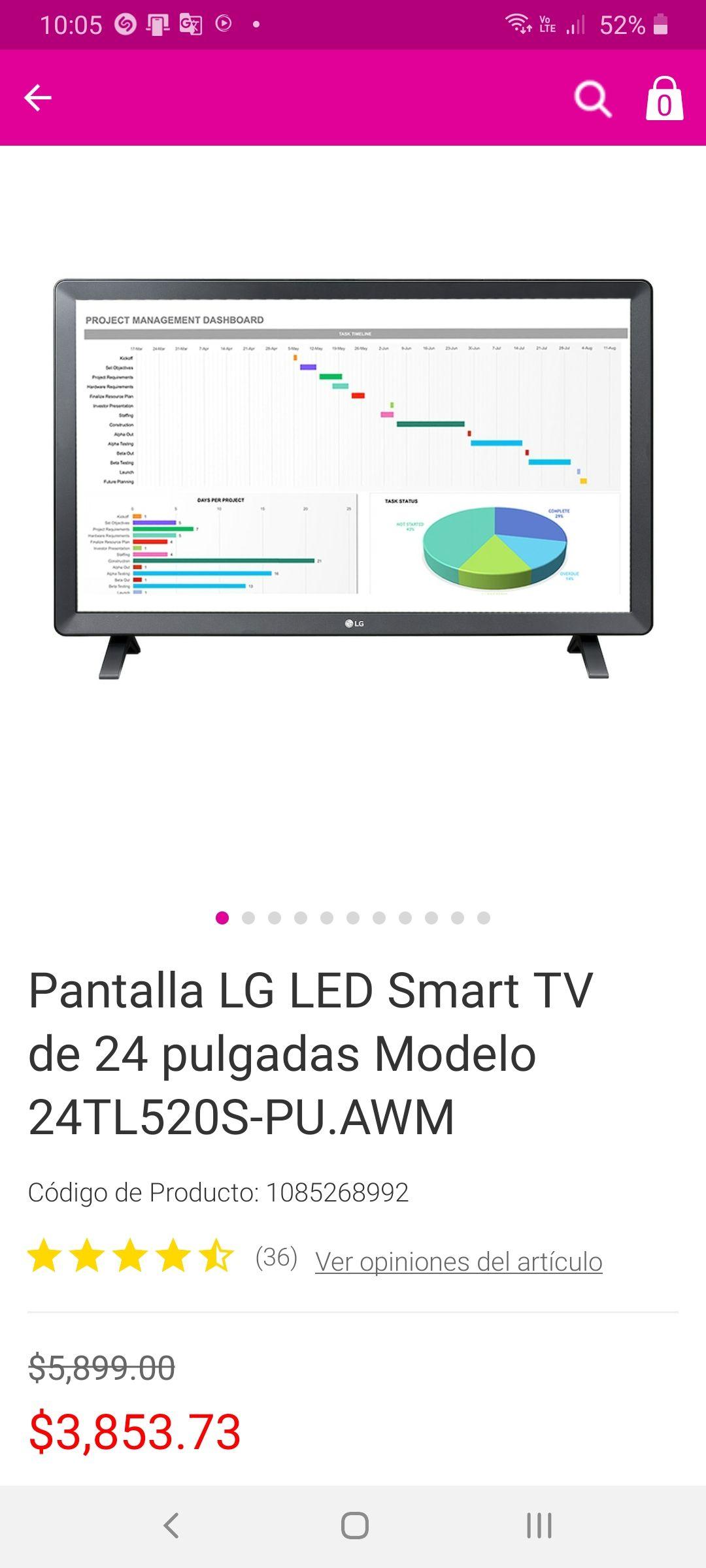 Liverpool: Pantalla LG led smart tv de 24 pulgadas