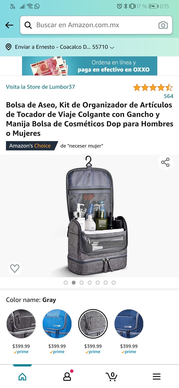 Amazon: Kit Organizador de Artículos de Tocador de Viaje Varios Colores