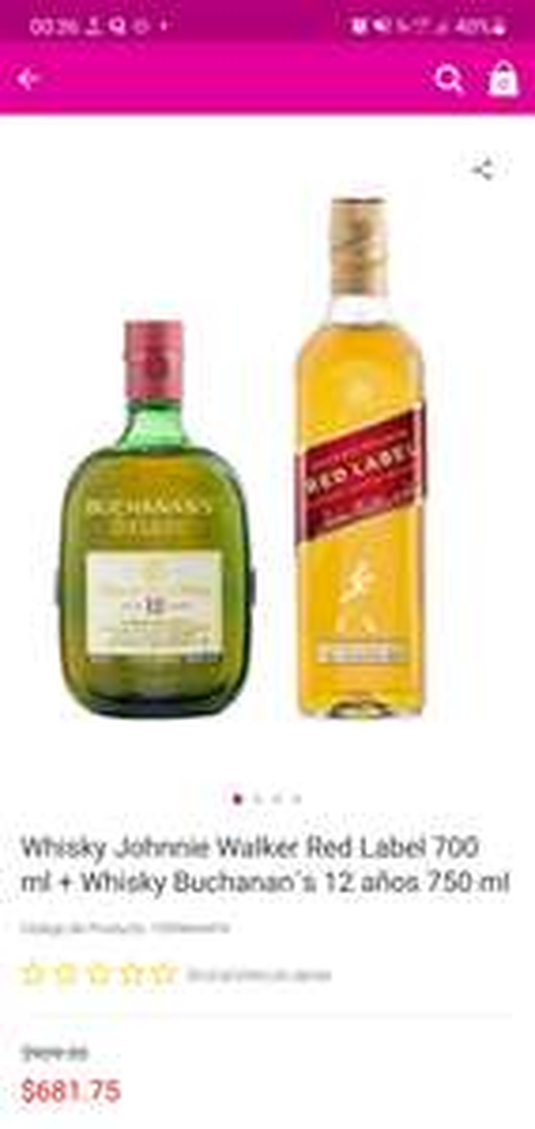 Liverpool: Red Label 700 ml + Whisky Buchanan´s 12 años 750 ml