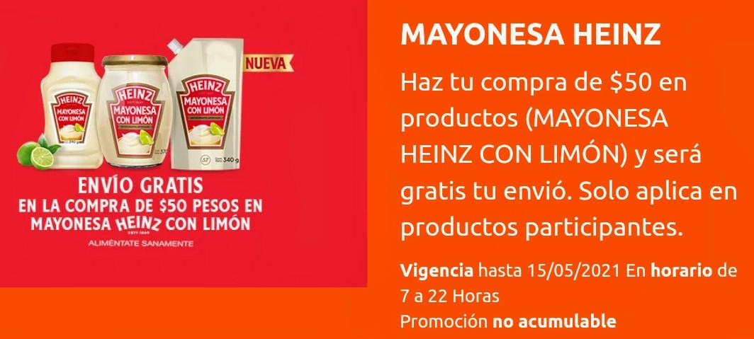 La Comer: Envío gratis comprando $50 de mayonesa Heinz con limón.