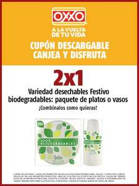 """Oxxo: Cupón 2x1 en desechables """"biodegradables"""""""