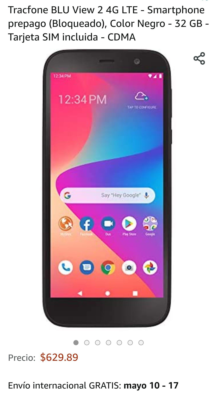 Amazon: Tracfone BLU View 2 4G LTE - Smartphone prepago (Bloqueado), Color Negro - 32 GB - Tarjeta SIM incluida - CDMA