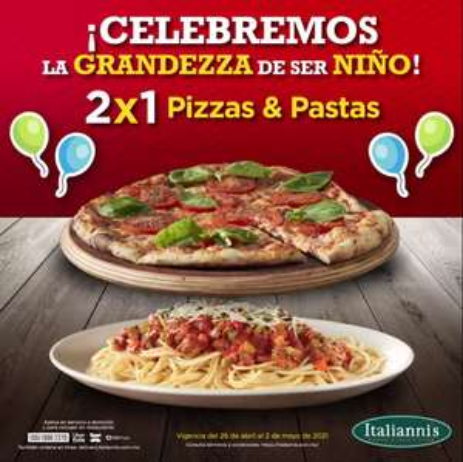 Italianni's: 2x1 en Pasta y Pizza o Malteada y Pizza por $99