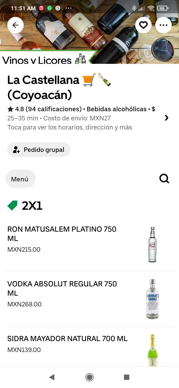 Uber Eats - La Castellana Varios destilados al 2x1