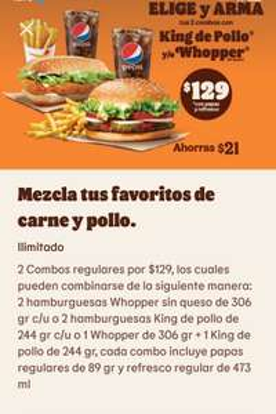 2 combos en burger king app