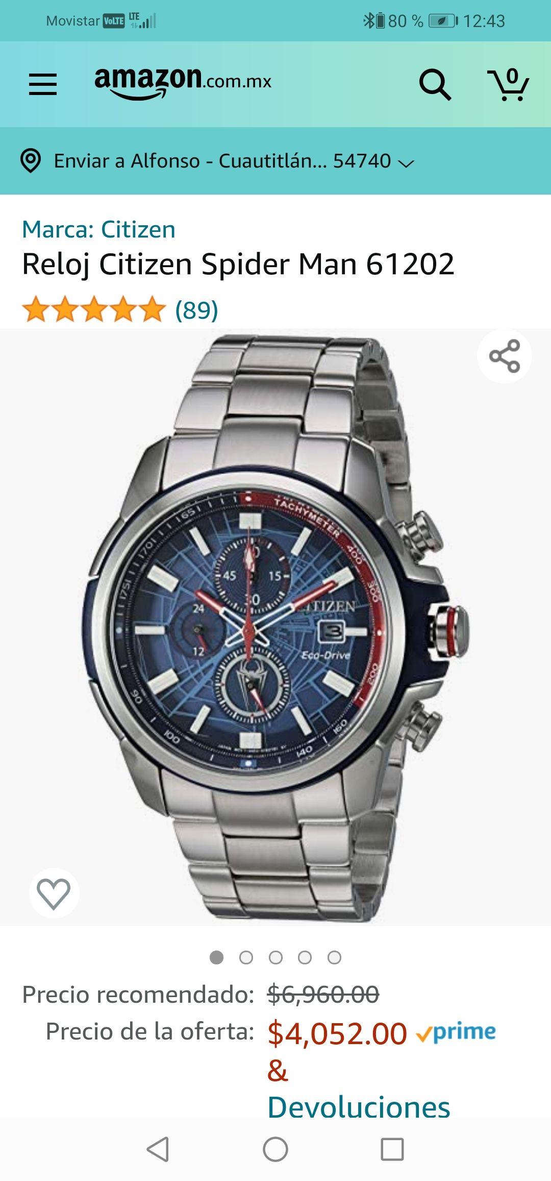 Amazon : Reloj Citizen Spider Man 61202