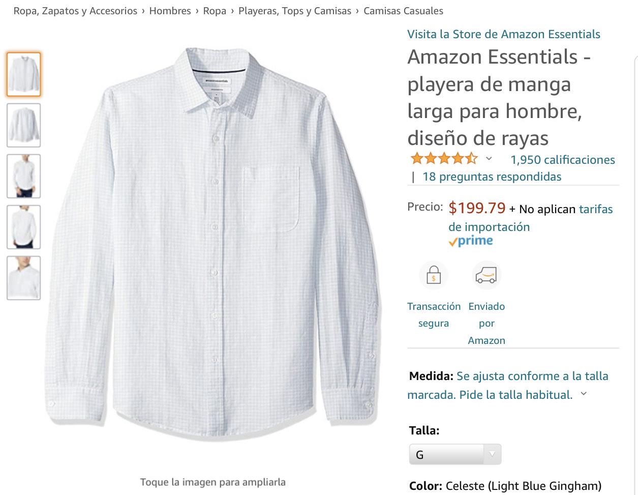 Amazon: Camisa Amazon Essentials Celeste. Aplica Prime. Talla L.