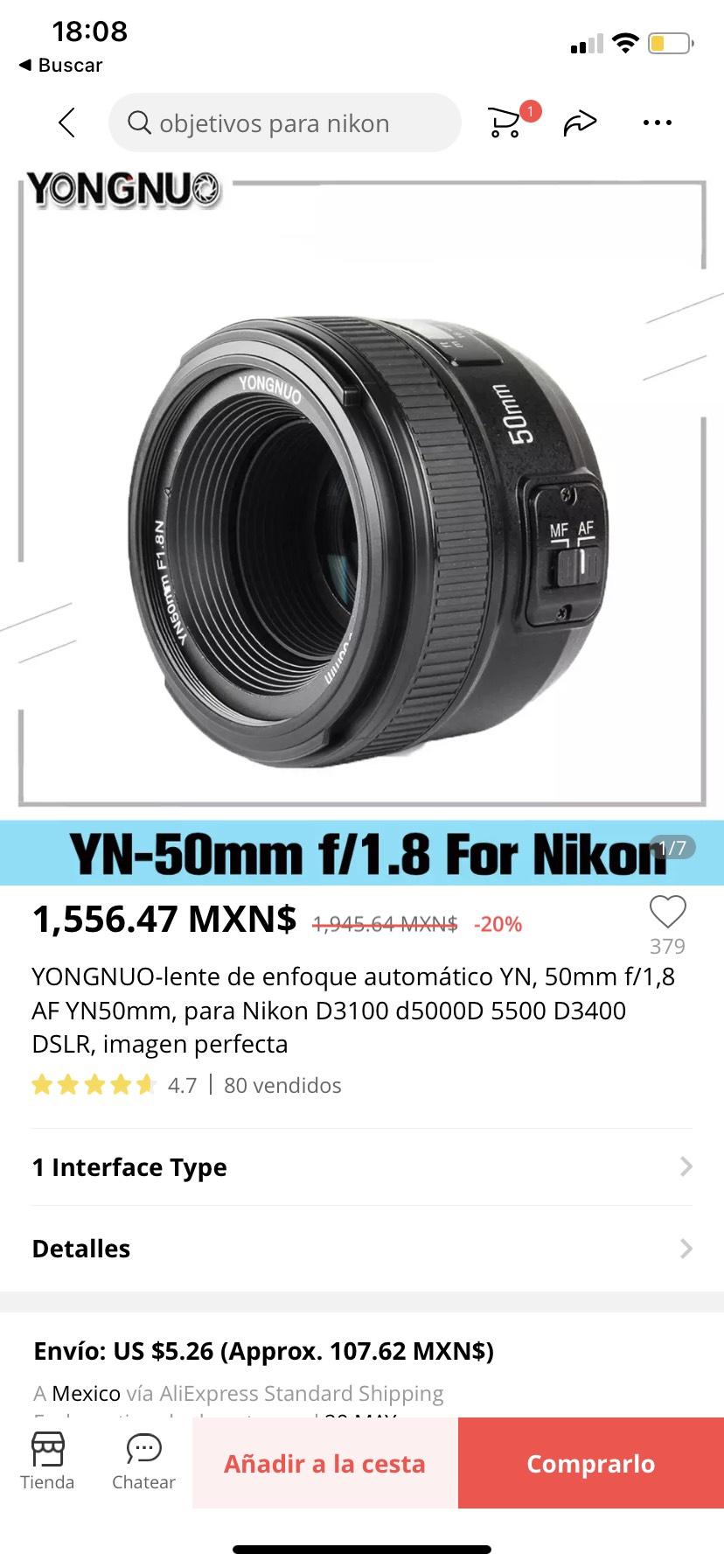 AliExpress: Lente Yongnuo 50 mm f/1.8 para nikon