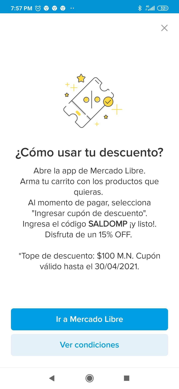 Mercado Libre: 15% descuento tope 100 pesos