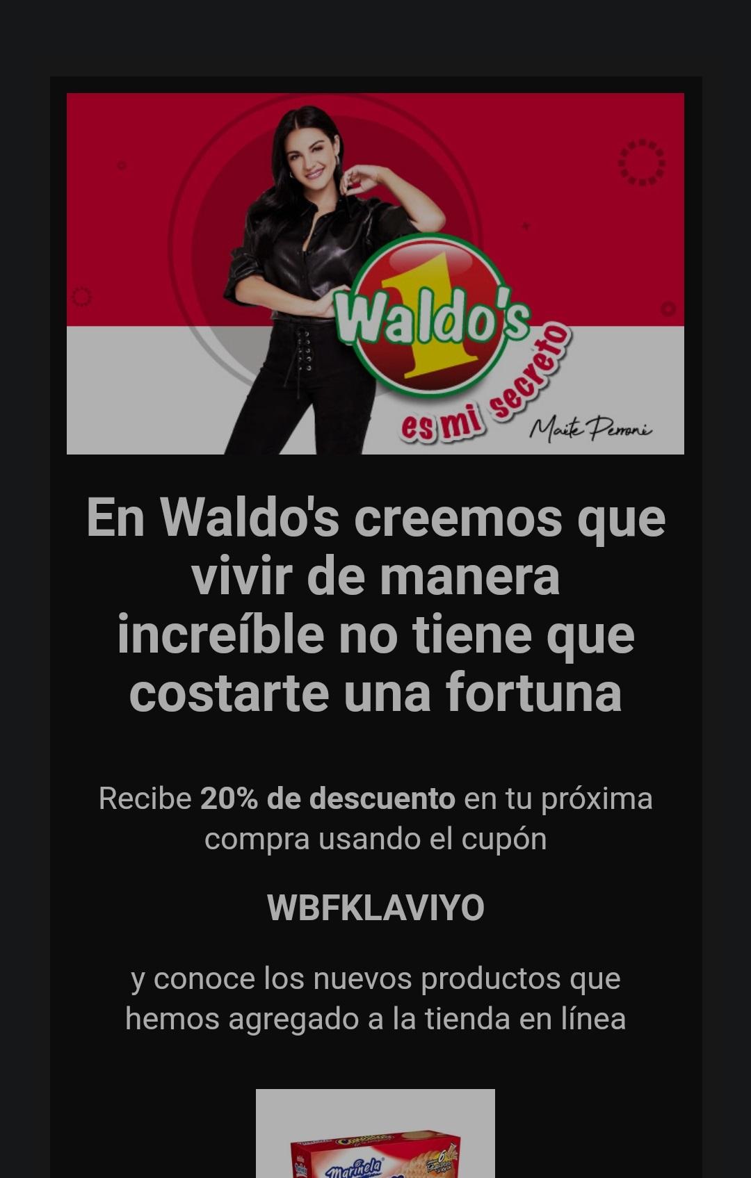 Waldos: 20% de descuento en toda la tienda