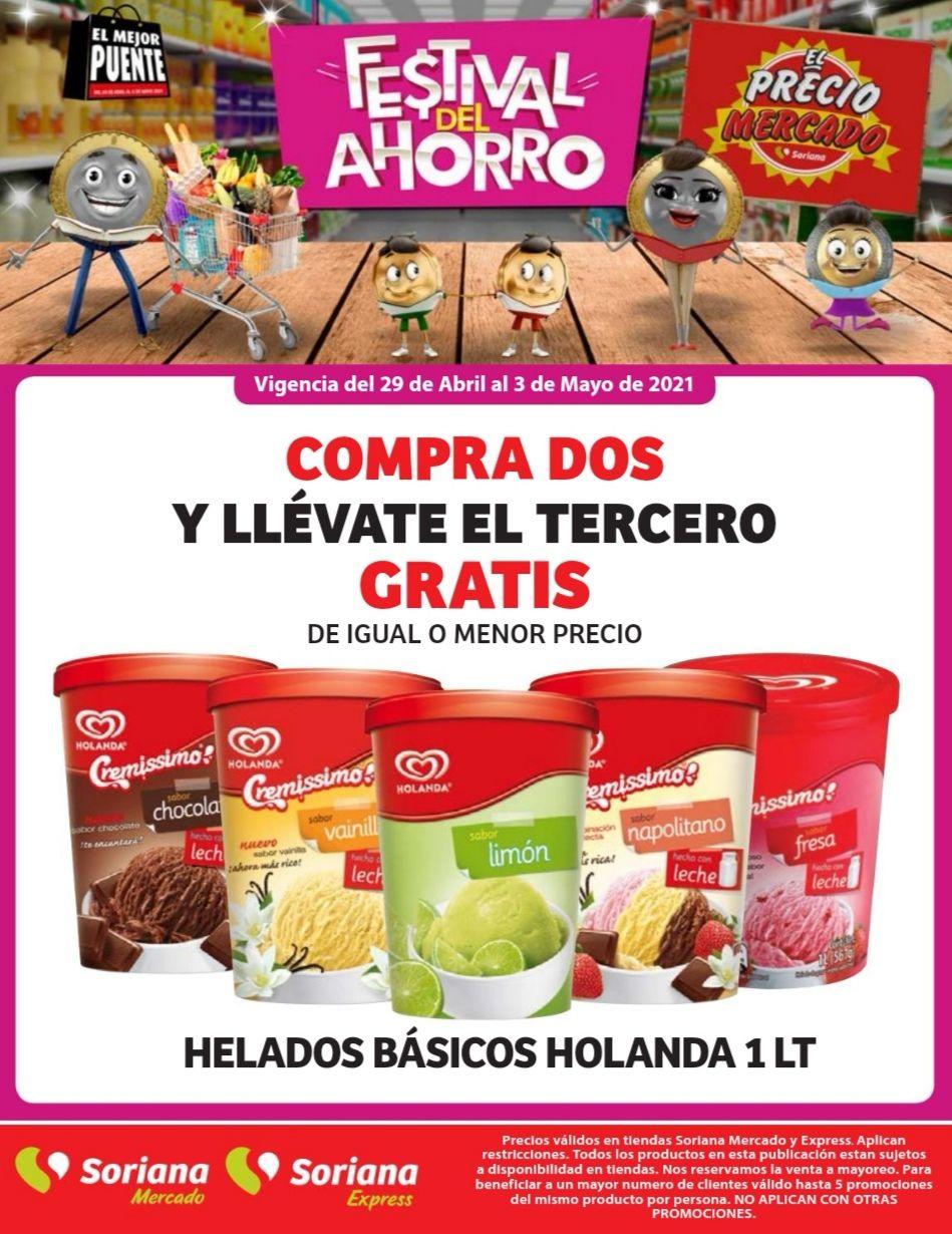 Soriana Mercado y Express: 3 x 2 en helados básicos Holanda 1 L