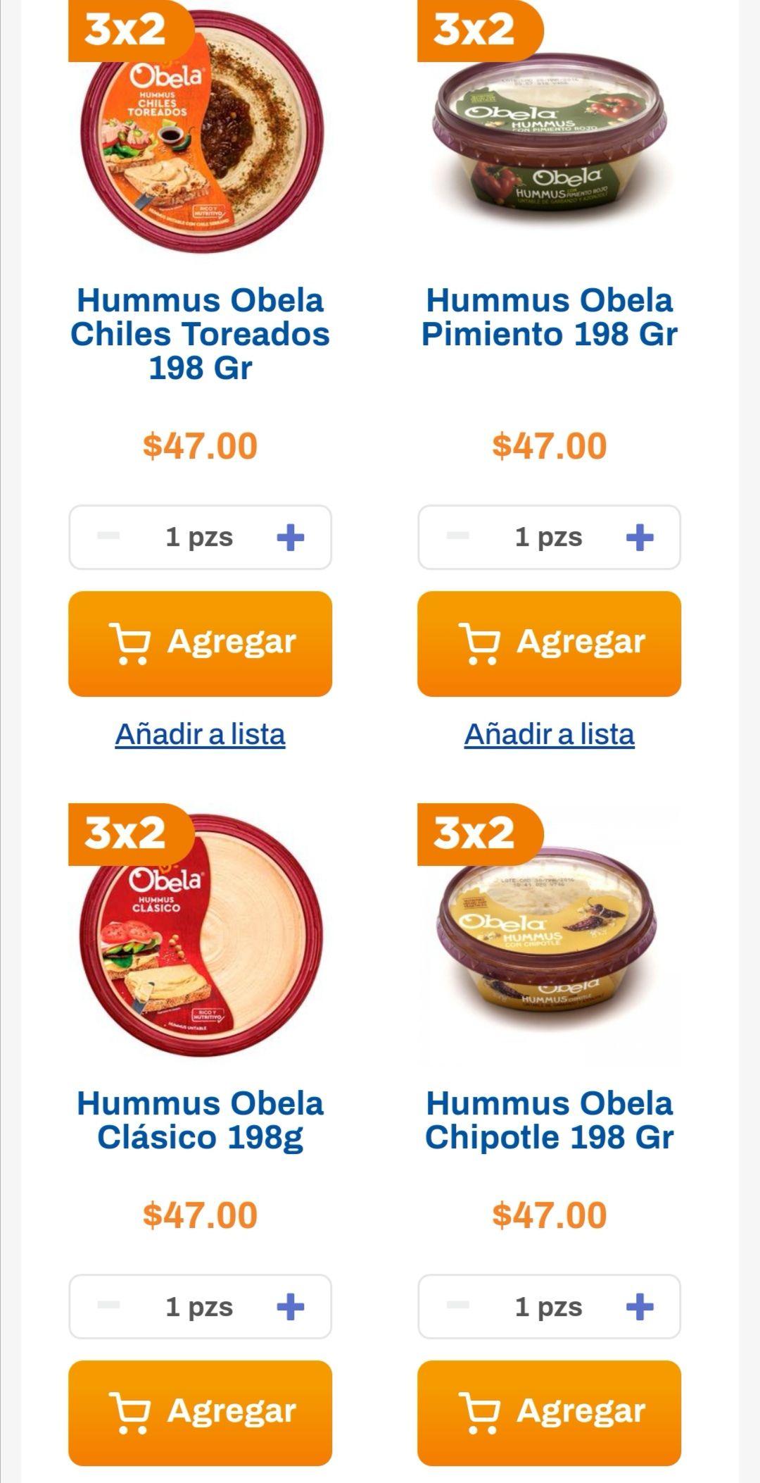 Chedraui: 3 x 2 en hummus marca Obela