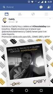 Cabify: chocolate Day, chocolate Dove gratis en cada viaje