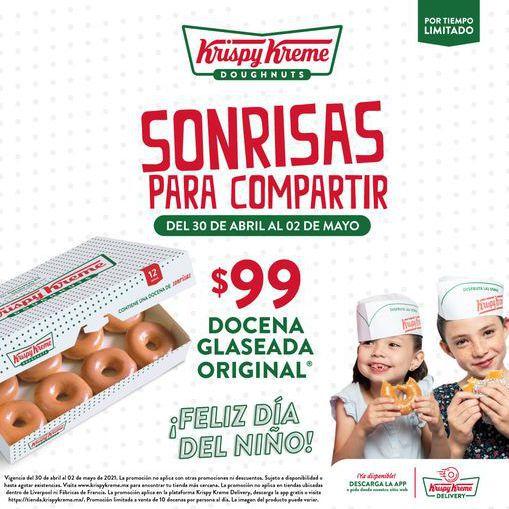 Krispy Kreme Día del Niño: Docena de Donas Glaseadas (30-04)