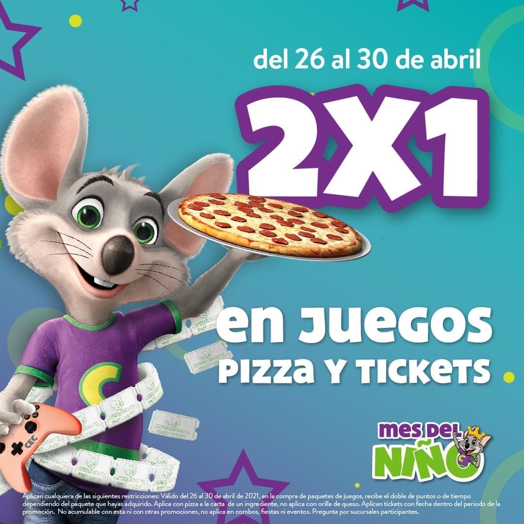 Chuck E. Cheese: Pizzas, Juegos y Tickets al 2x1.