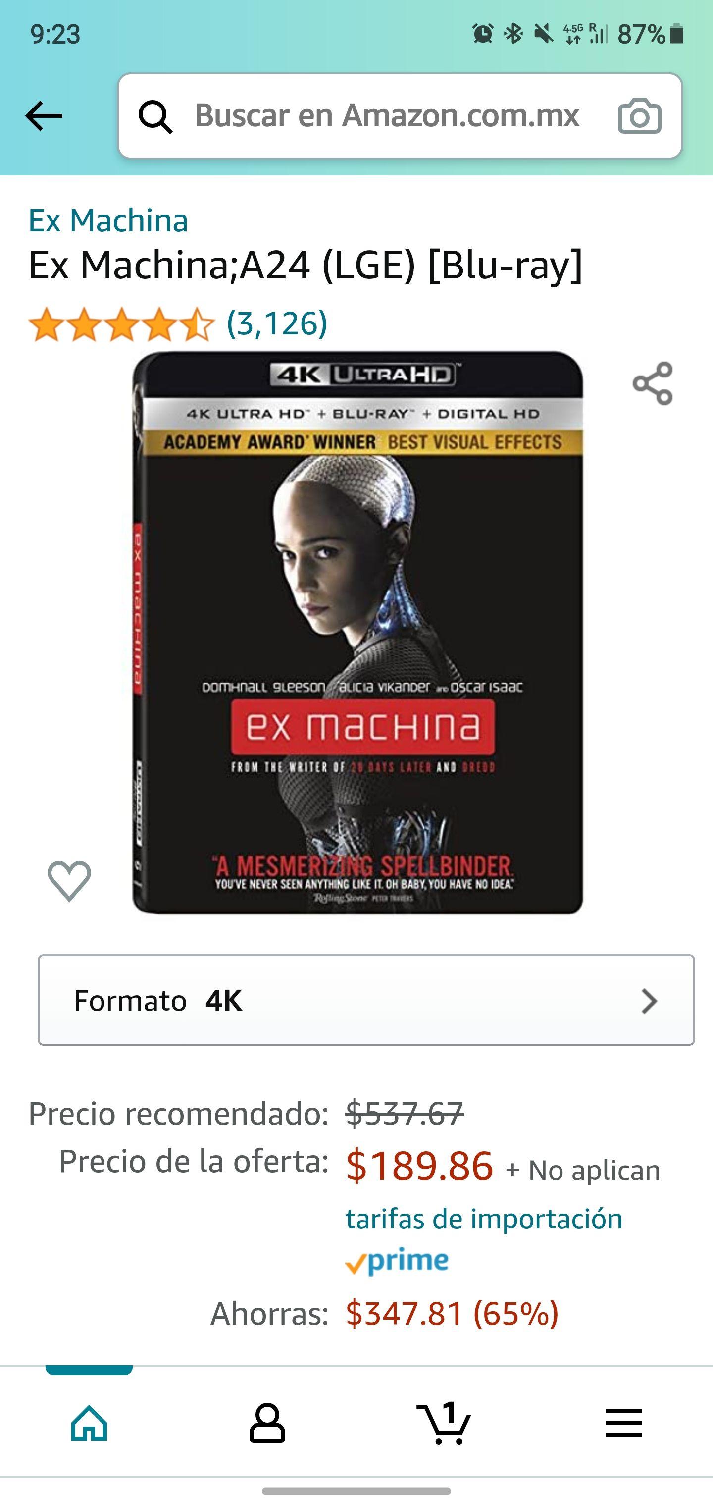 Amazon: Pelicula ex machina 4k