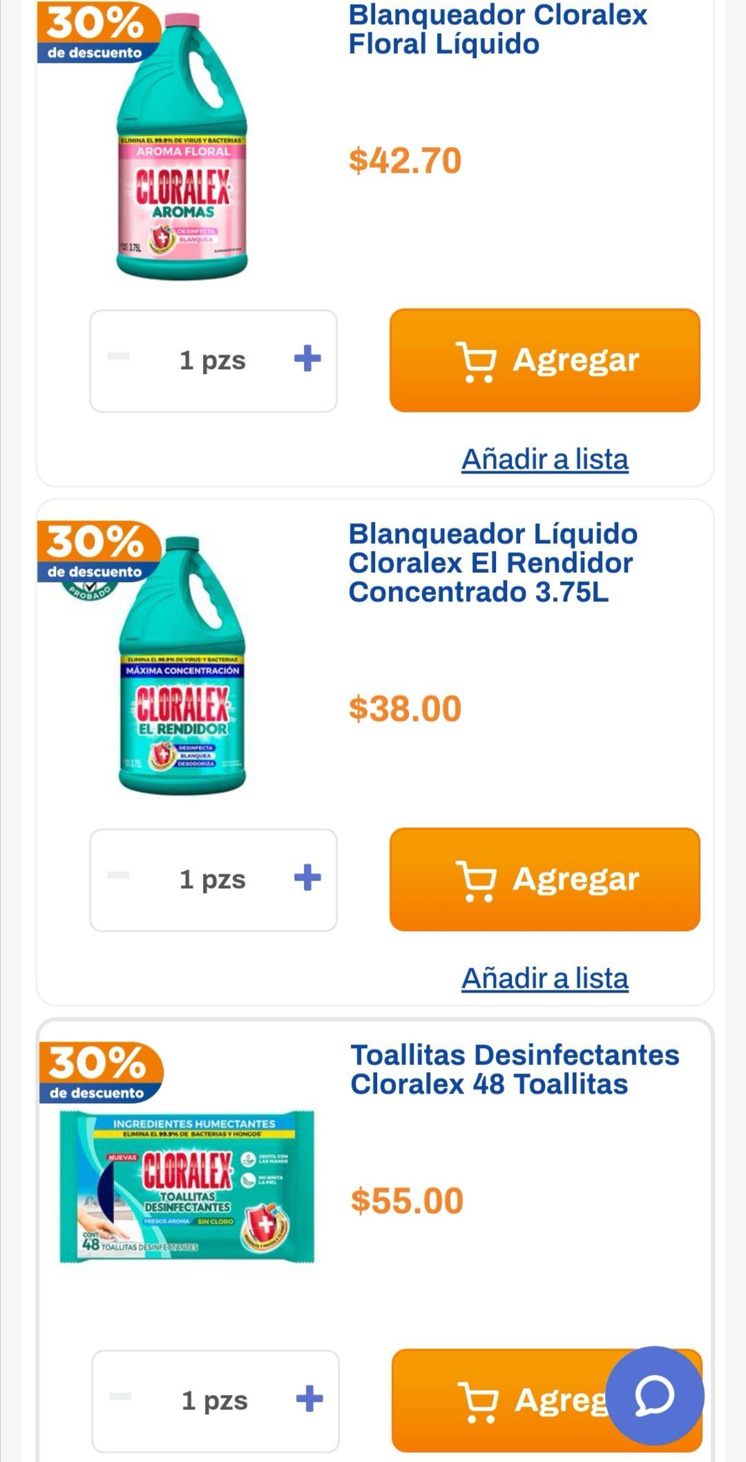 Chedraui: 30% de descuento en blanqueadores Cloralex 3.75 L y toallitas desinfectantes Cloralex 48 pzs