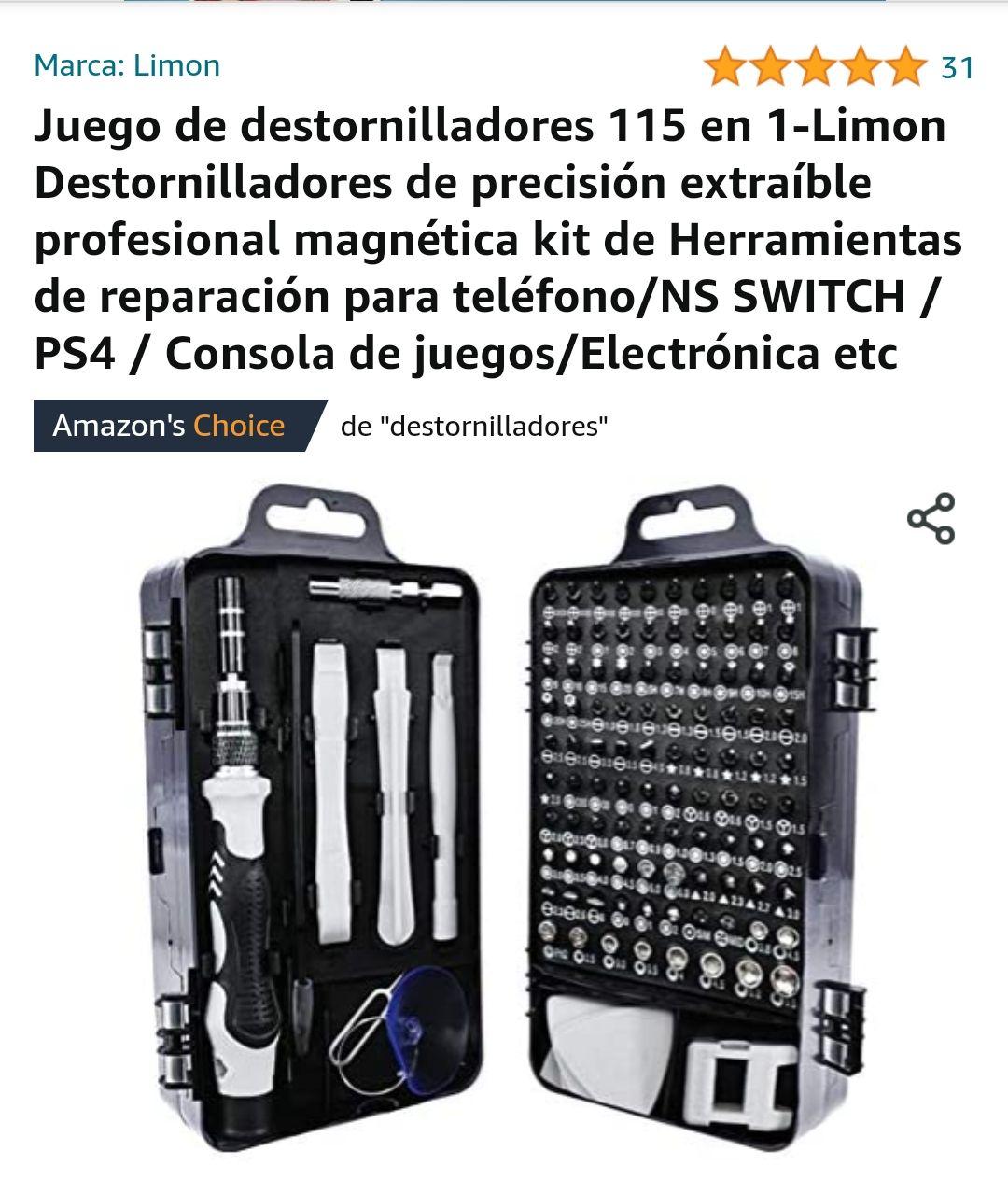 Amazon Juego de destornilladores 115 en 1-Limon Destornilladores de precisión extraíble