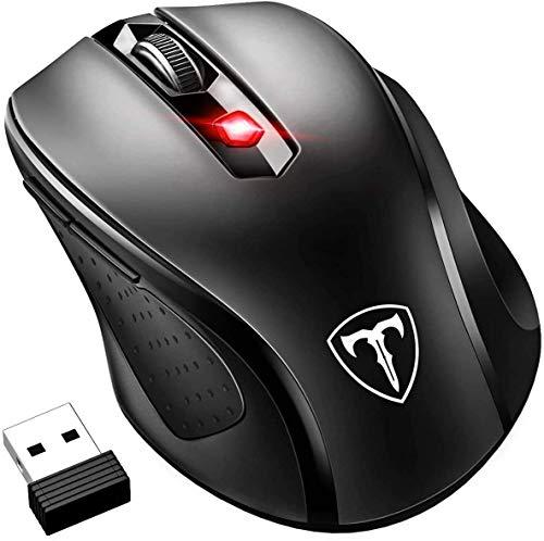 Amazon: VicTsing 2.4G Profesional Mouse Inalámbrico Ergonómico con Bluetooth,6 Botones, Nano Receptor, 2400DPI y 5 Nivel Ajustable.