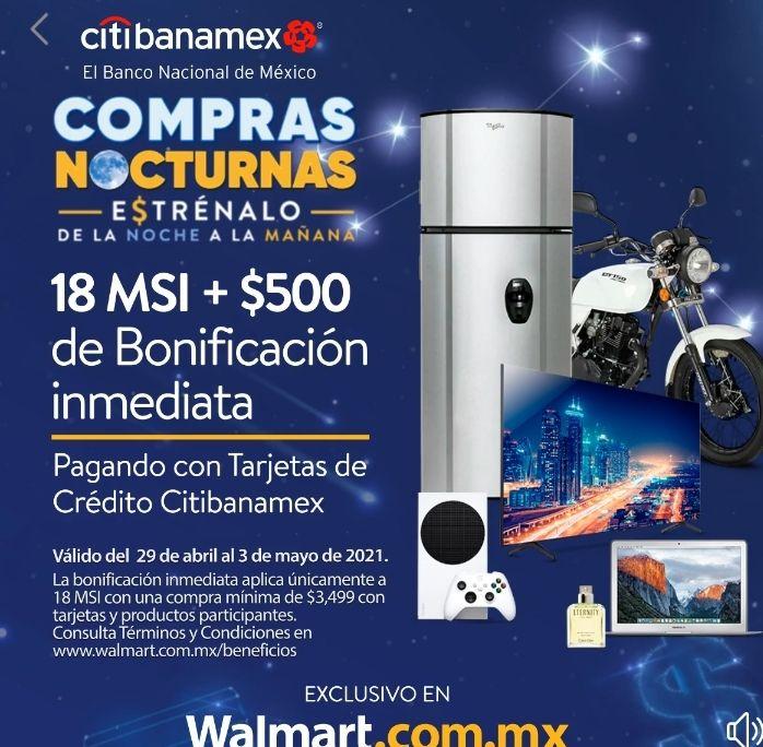 Walmart 500 de bonificación con citibanamex