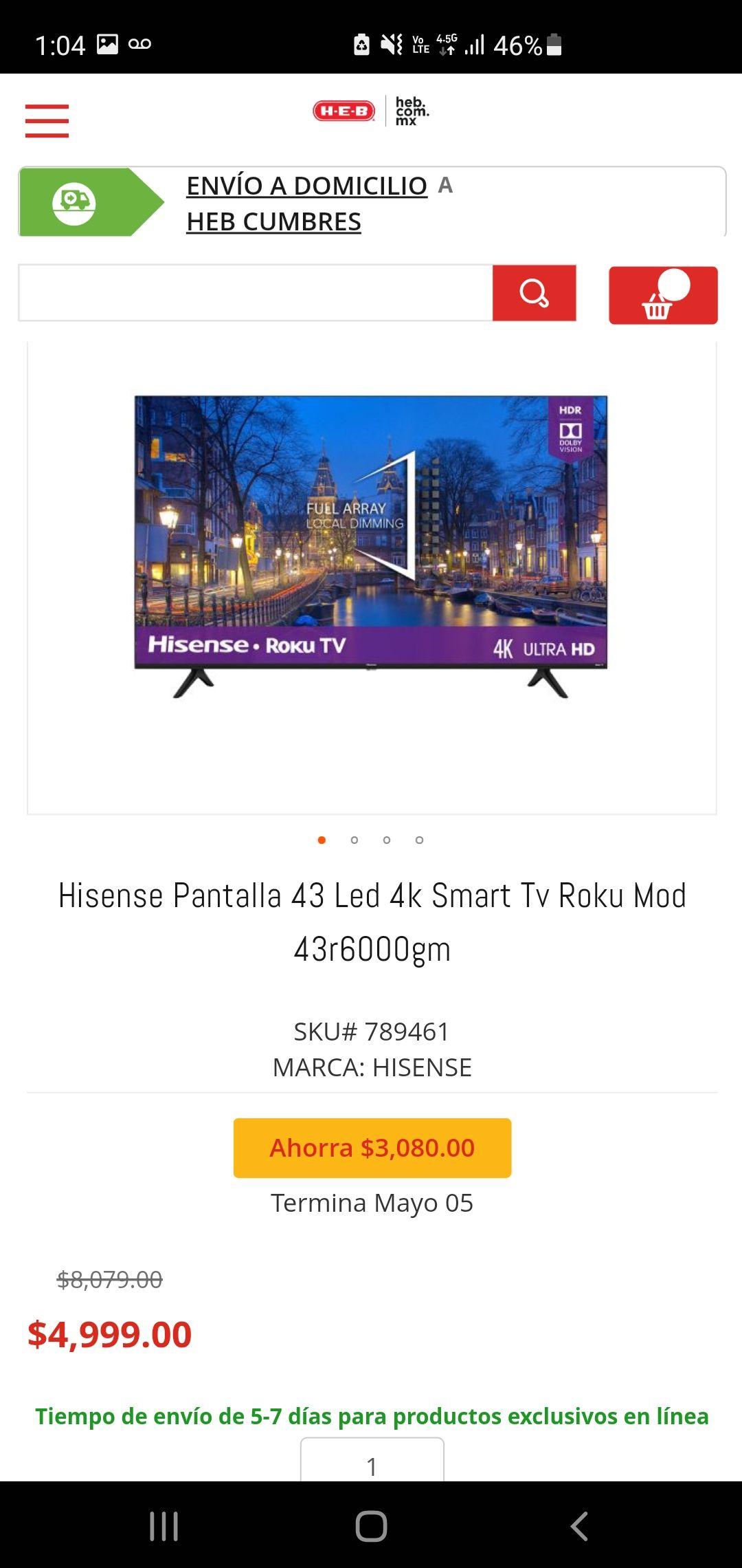 HEB en LineaHisense Pantalla 43 pulgadas Led 4k Smart Tv Roku Mod 43r6000gm