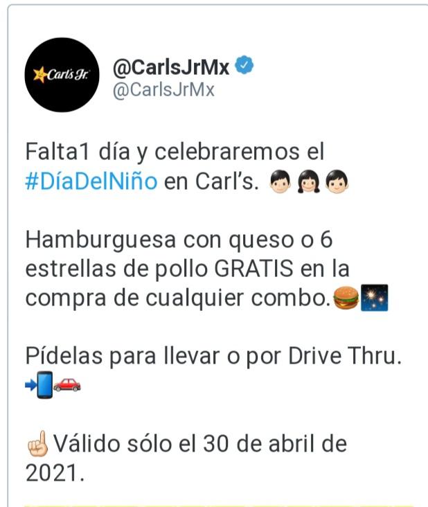 Carls jr; hamburguesa gratis o nugets en la compra de combo el 30 de abril