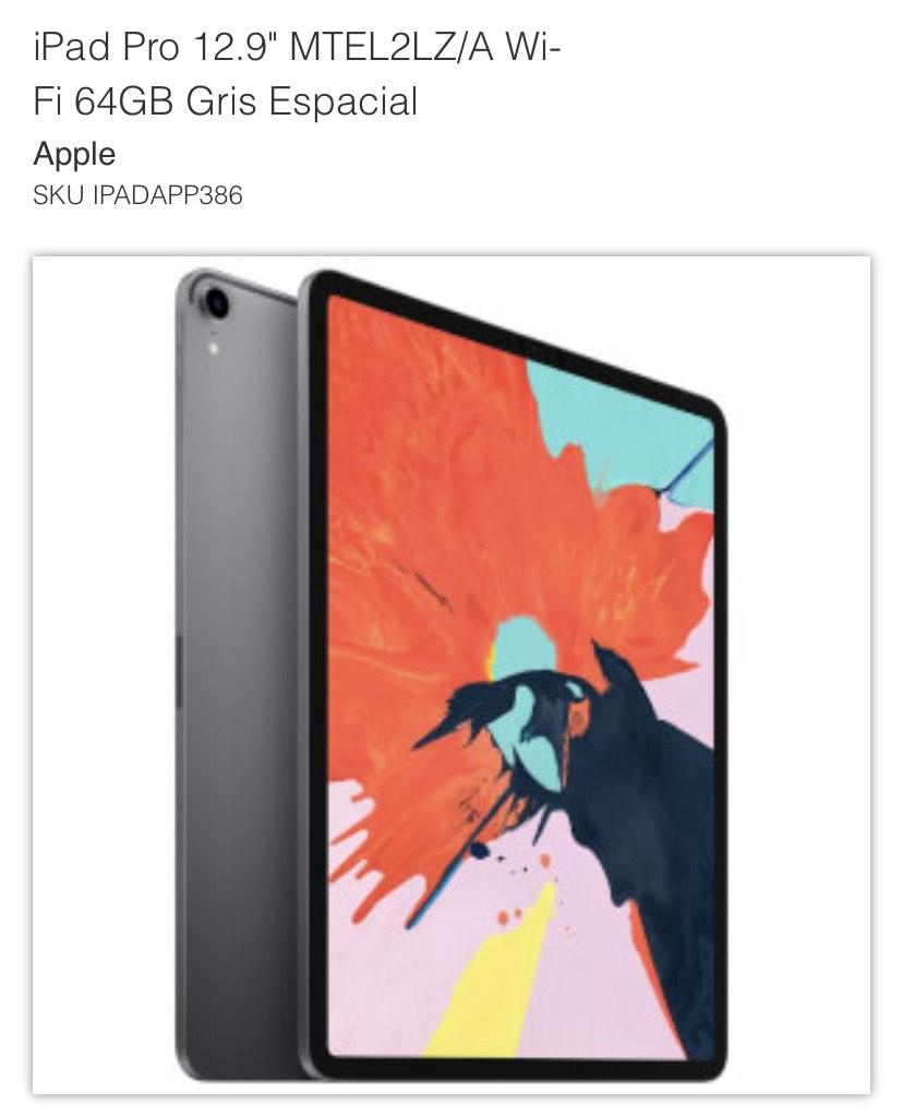 """MacStore: iPad Pro 12.9"""" Wi-Fi 64GB Gris Espacial (2018)"""