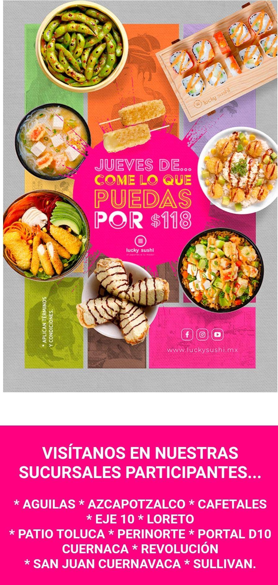 Lucky Sushi: jueves de todo lo que puedas comer por $118