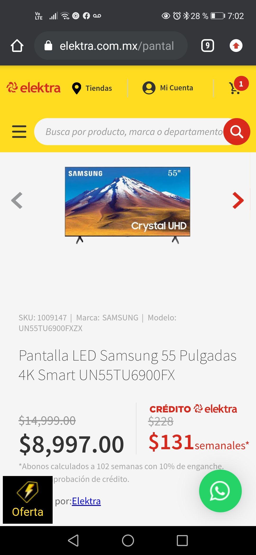 Elektra: Pantalla LED Samsung 55 Pulgada s 4K Smart UN55TU6900FX