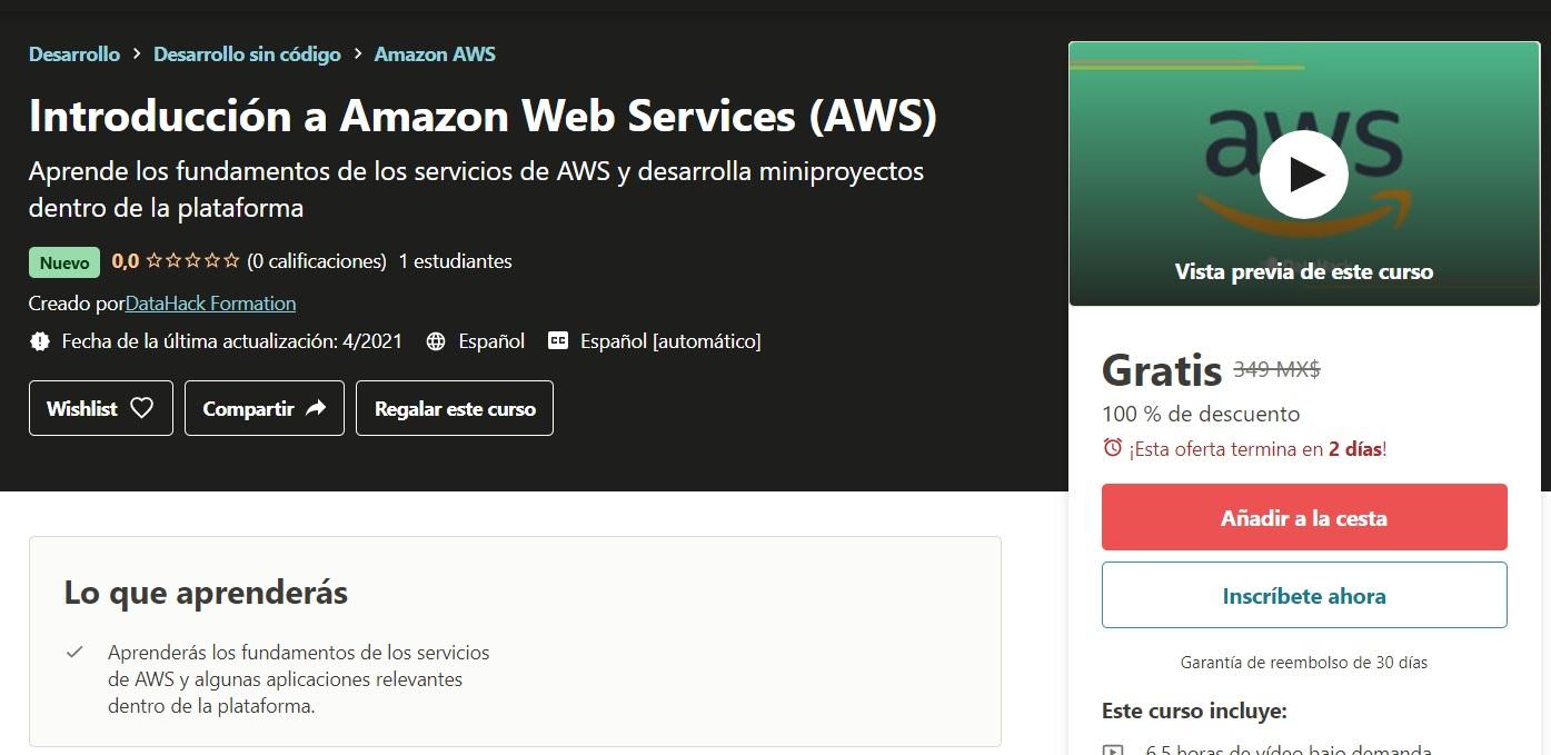 Udemy Español: Introducción a Amazon Web Services (AWS) / Introducción a Google Cloud Platform / Introducción a Azure