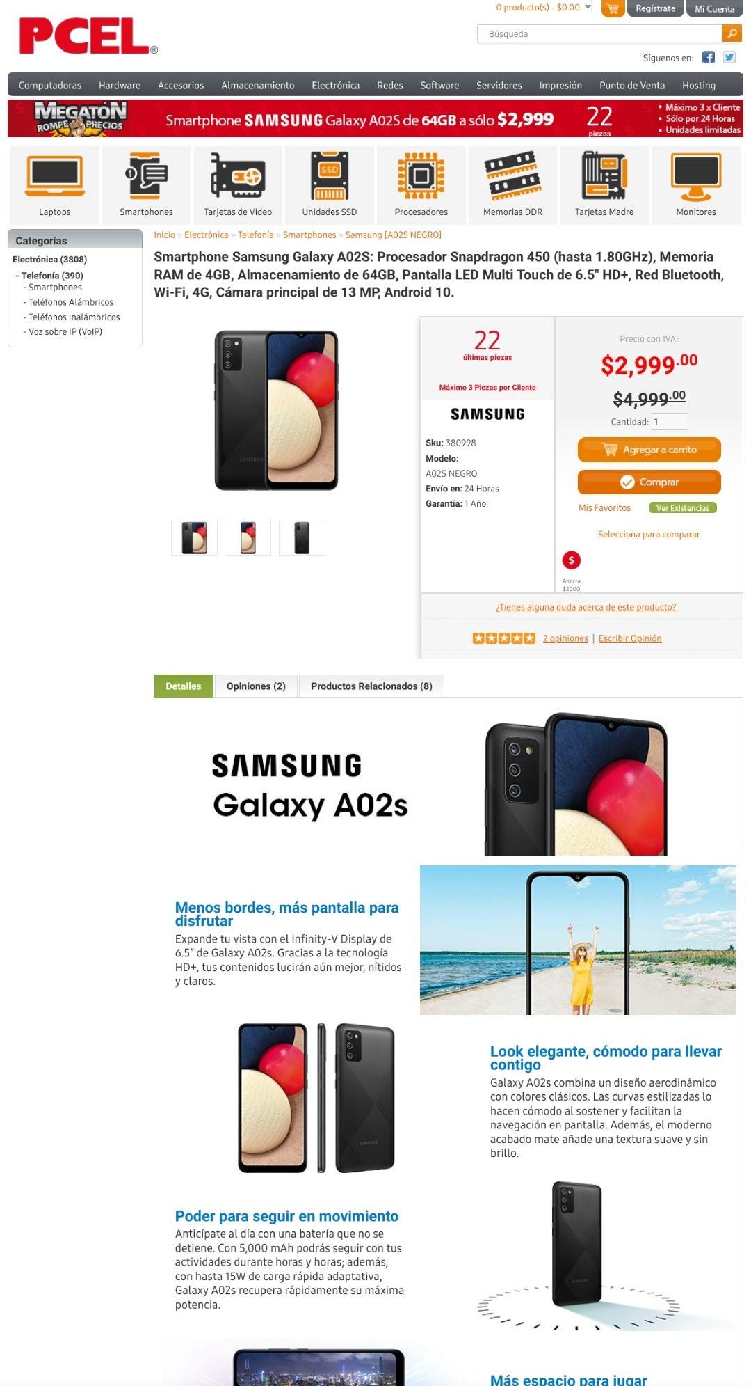 PCEL: Smartphone Samsung Galaxy A02S